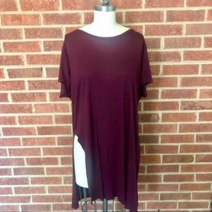 Topshop Burgundy Long T-Shirt with Slits